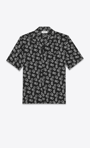 SAINT LAURENT Casual Shirts U Shark-neck shirt in black cotton voile with a Japanese floral print a_V4