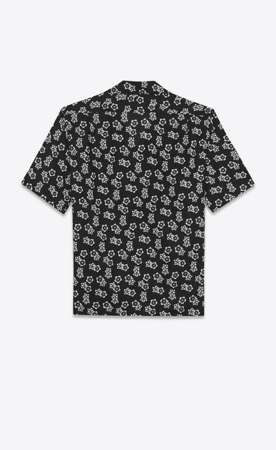 SAINT LAURENT Casual Shirts Man Shark-neck shirt in black cotton voile with a Japanese floral print b_V4