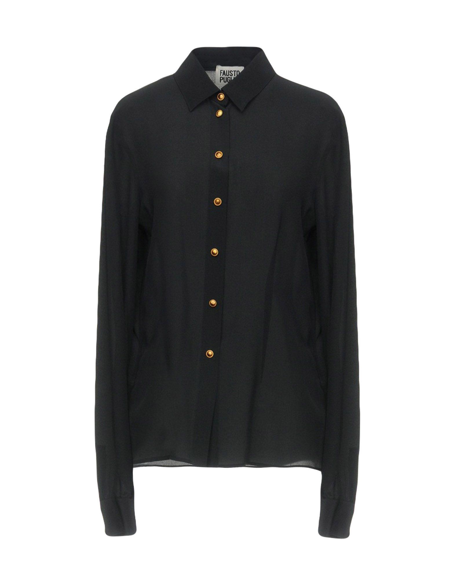 《セール開催中》FAUSTO PUGLISI レディース シャツ ブラック 46 シルク 100%