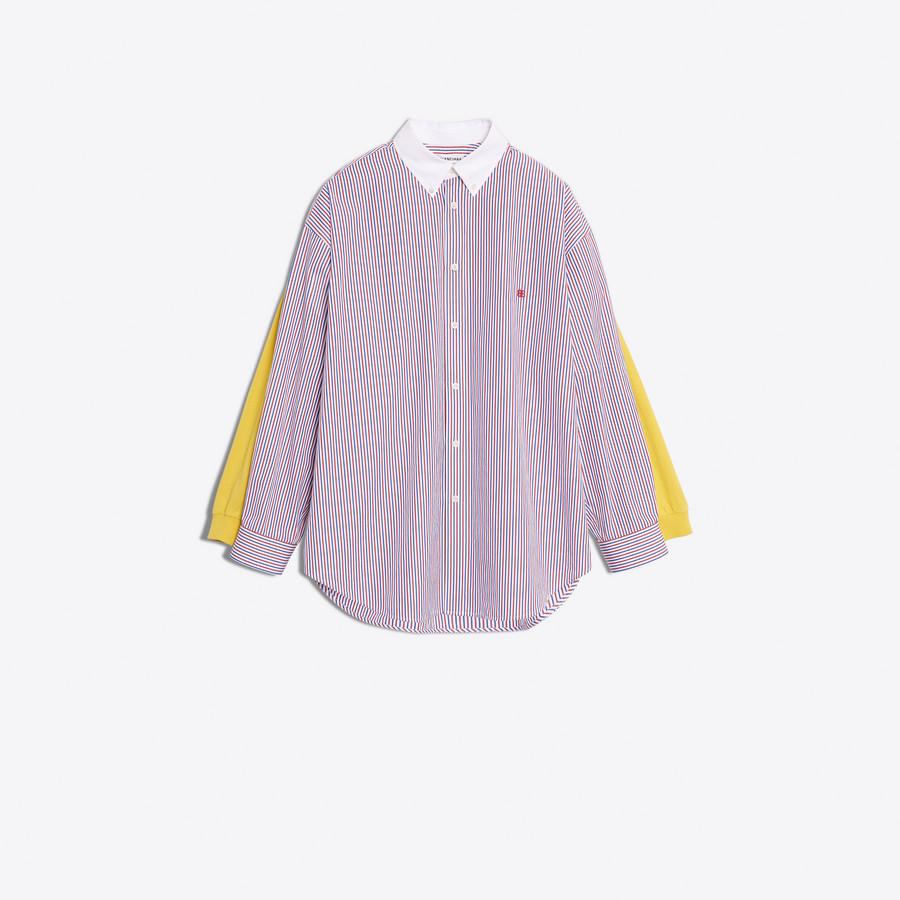 Women 39 S Blue White Red Tee Shirt Combi Collar Shirt