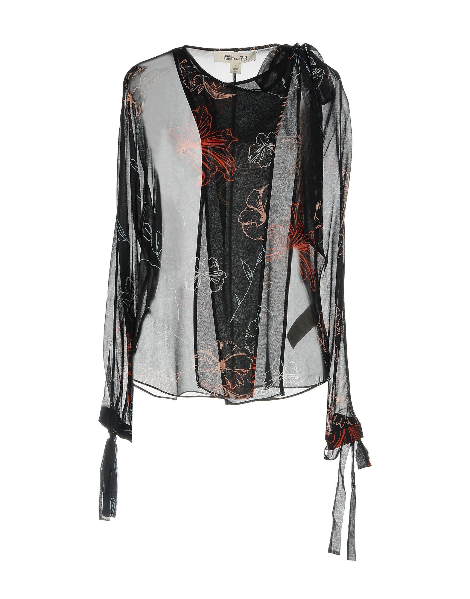 《送料無料》DIANE VON FURSTENBERG レディース シャツ ブラック 6 シルク 100%