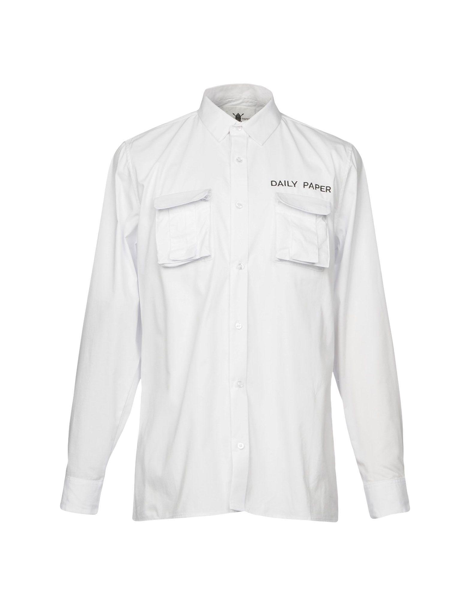 《送料無料》DAILY PAPER メンズ シャツ ホワイト S コットン 100%