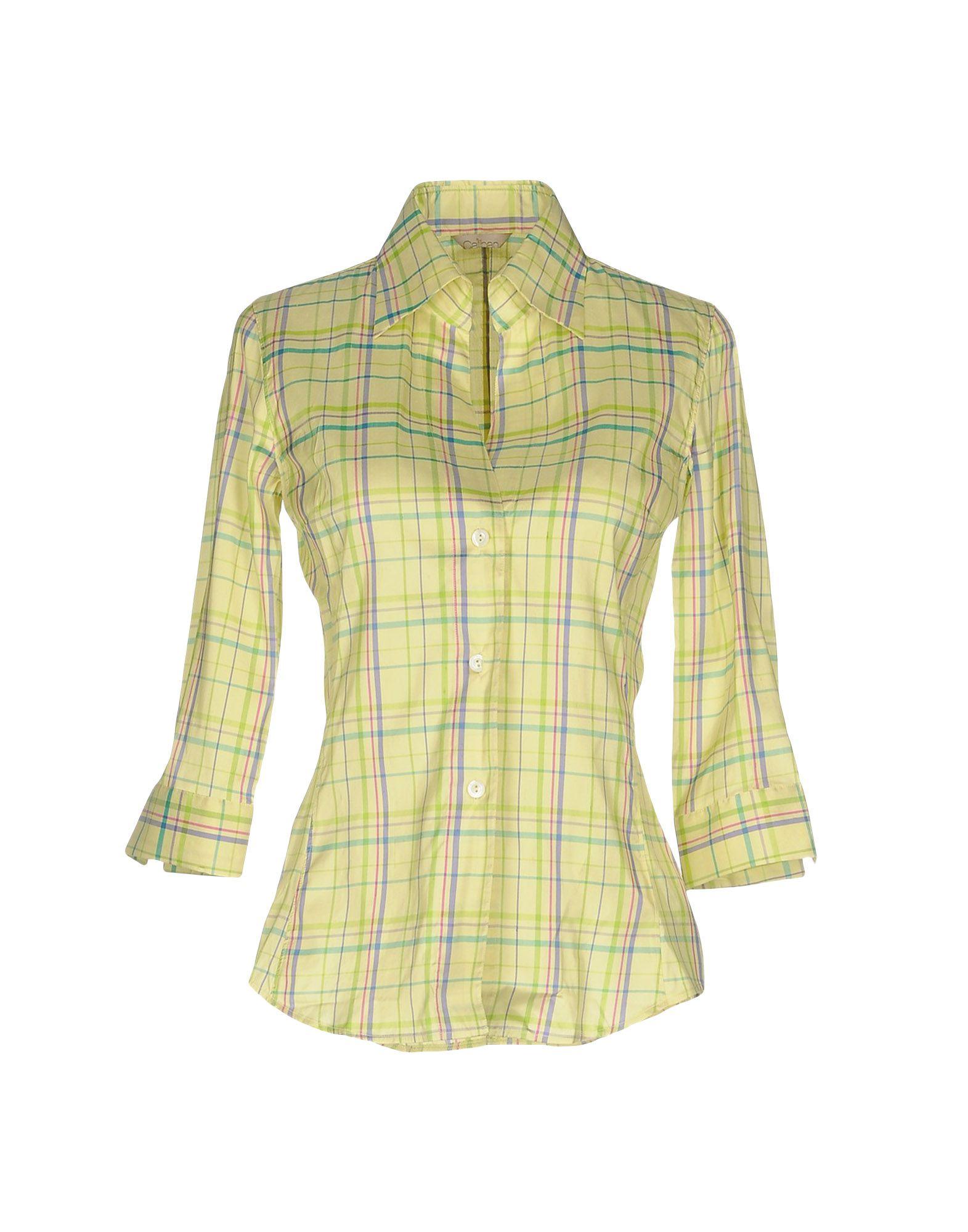 《送料無料》CALIBAN レディース シャツ ライトグリーン 40 シルク 100%