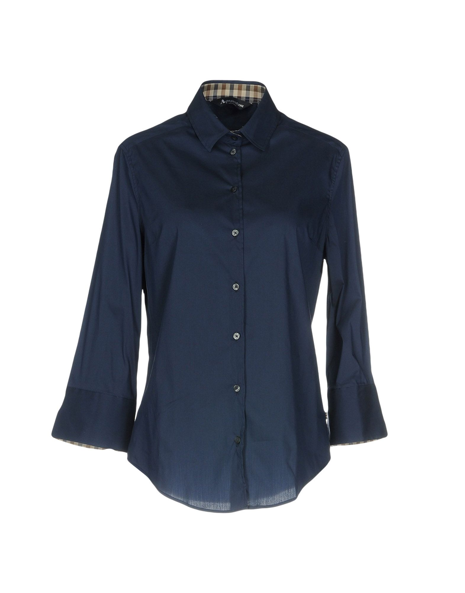 AQUASCUTUM Solid Color Shirts & Blouses in Dark Blue
