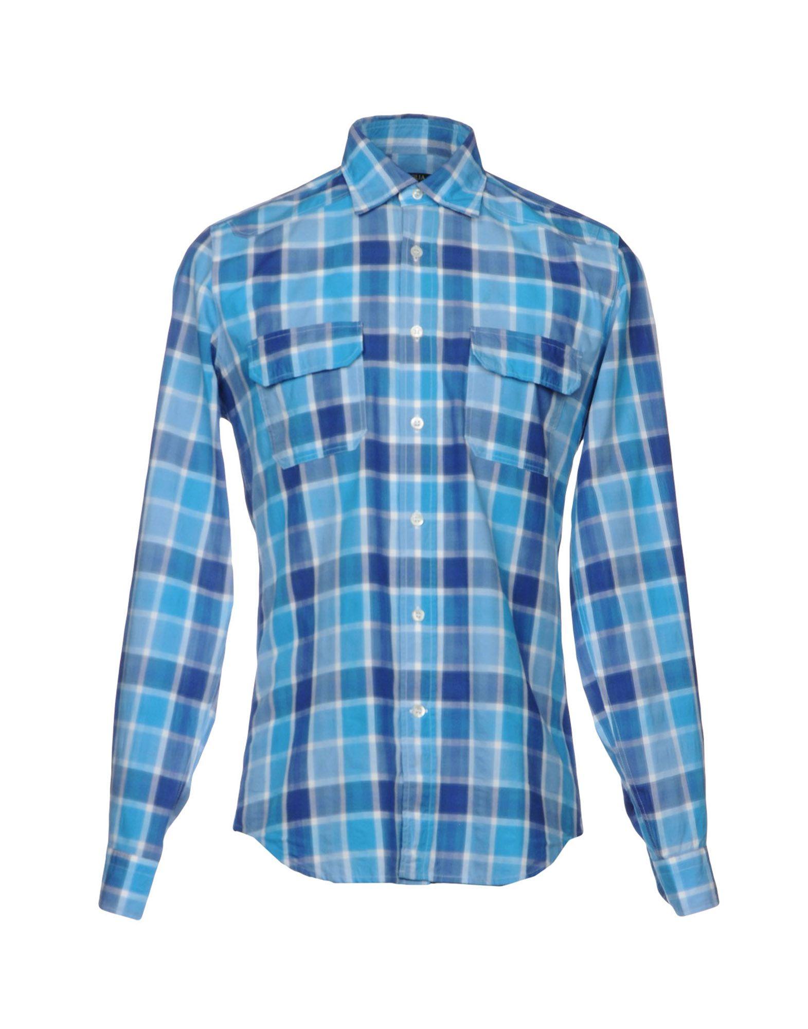 《送料無料》SIVIGLIA メンズ シャツ アジュールブルー 38 コットン 100%