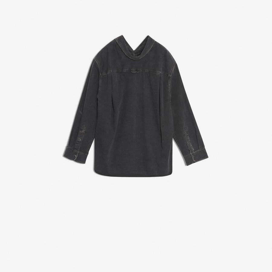 BALENCIAGA Swing Collar Shirt Denim D d