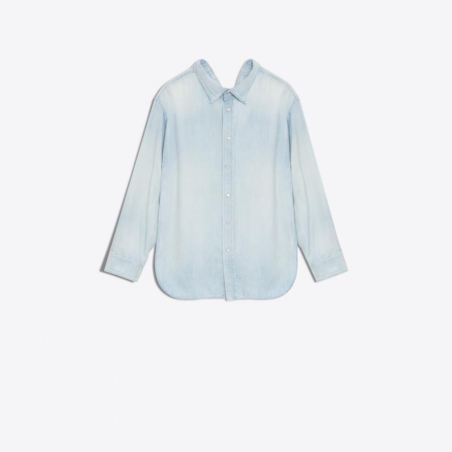 BALENCIAGA Swing Collar Shirt Denim Woman f