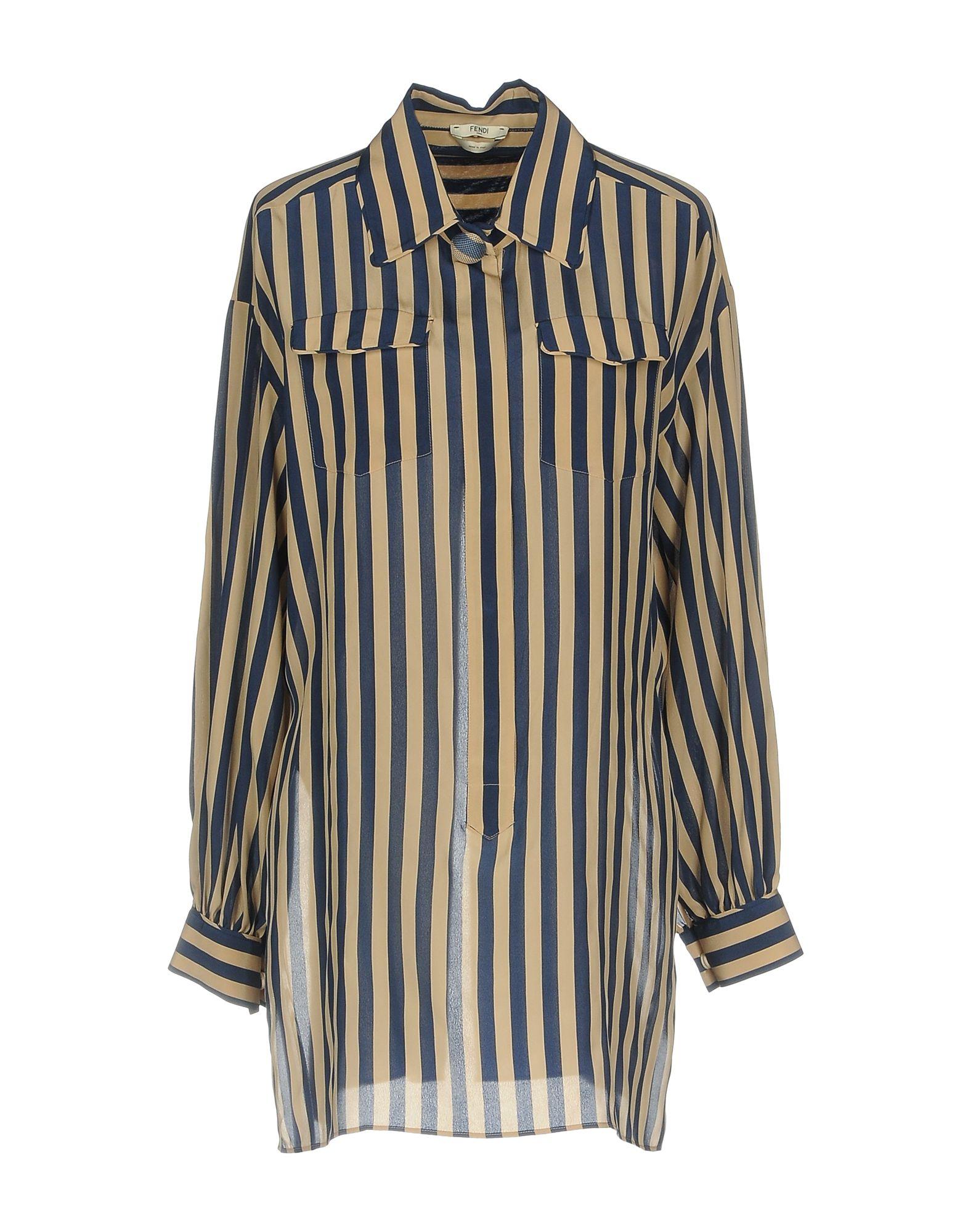FENDI Damen Bluse Farbe Dunkelblau Größe 4