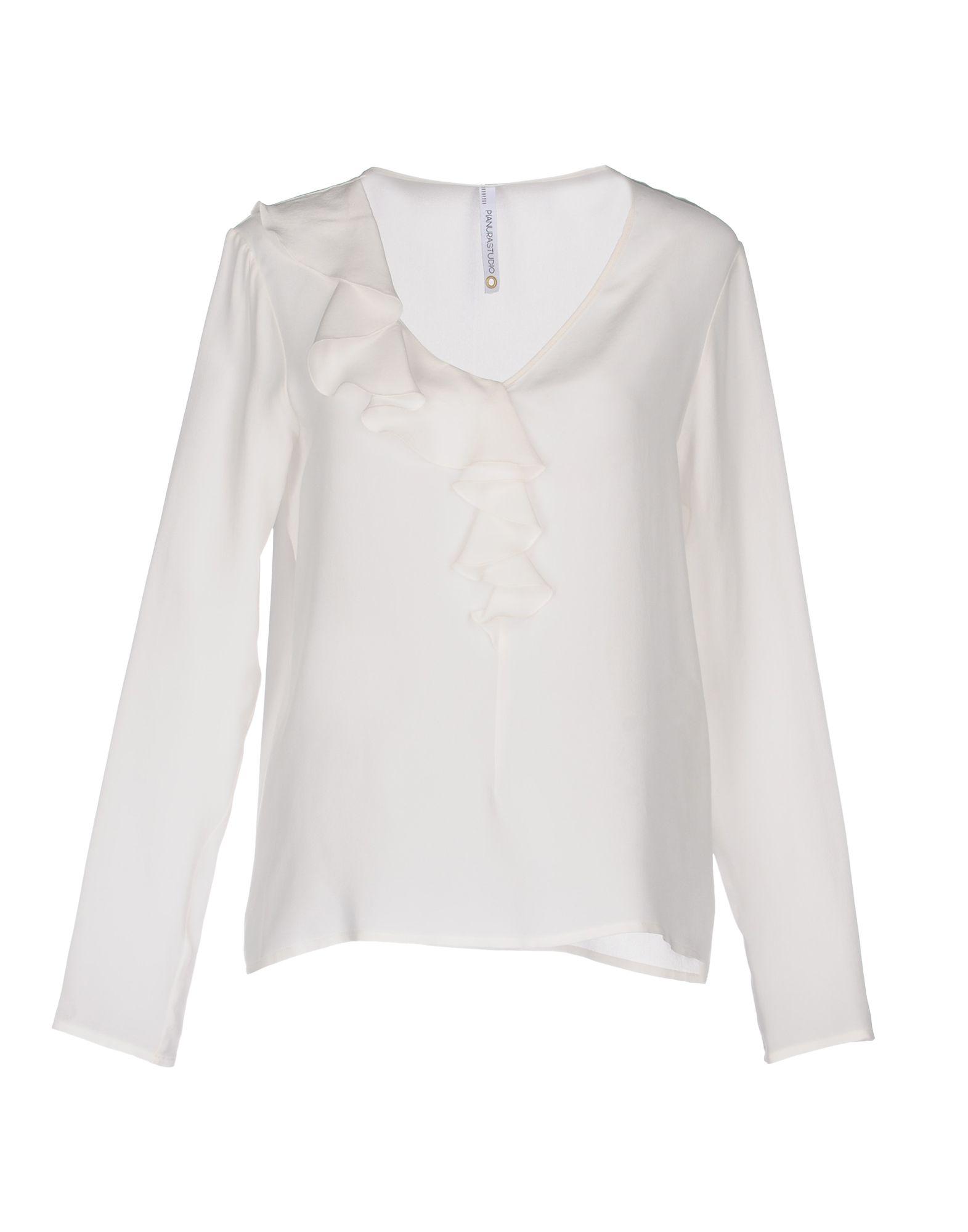 PIANURASTUDIO Damen Bluse Farbe Weiß Größe 7