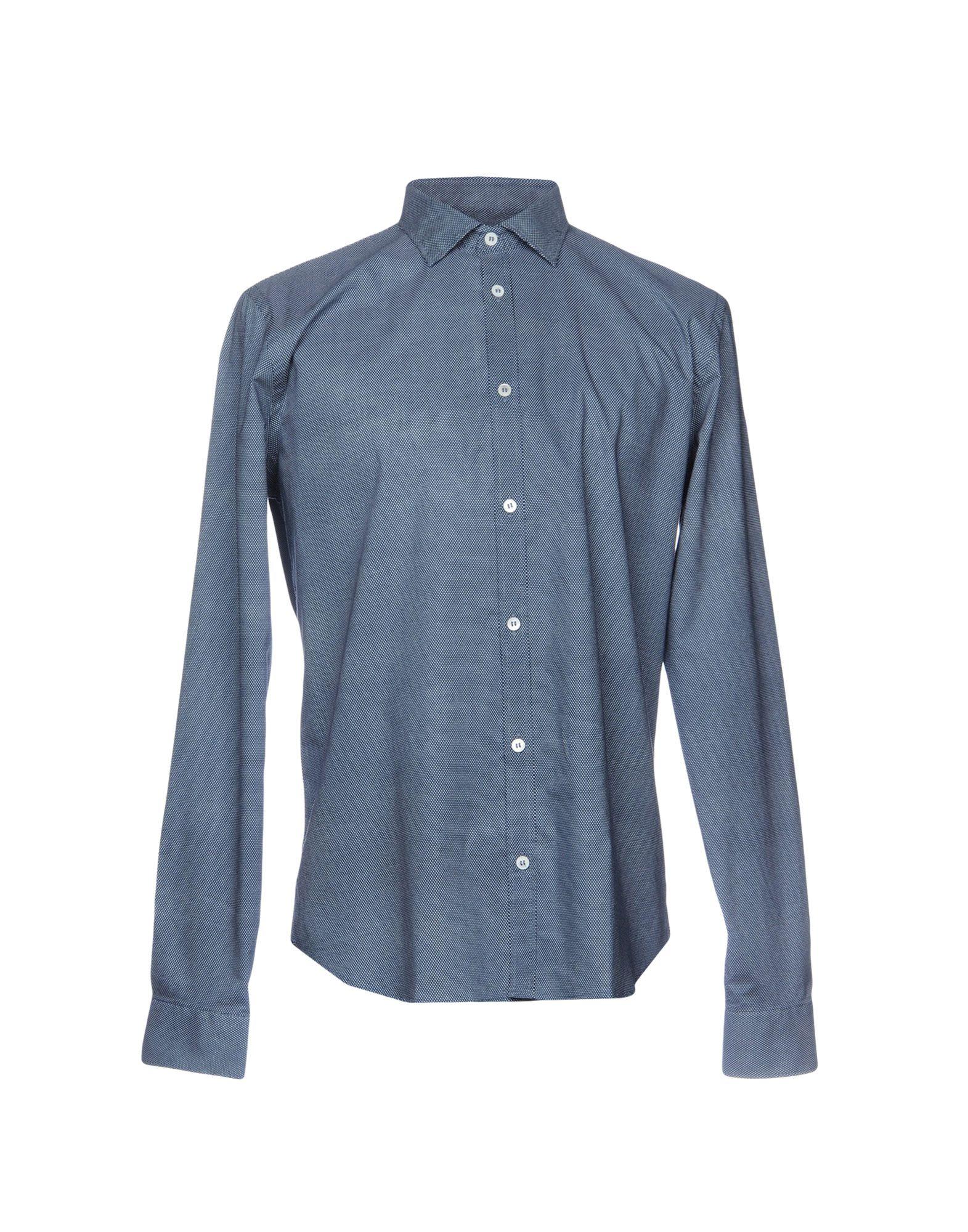 《セール開催中》H?SIO メンズ シャツ ブルー 38 コットン 100%