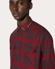 Checked shirt with studs on collar