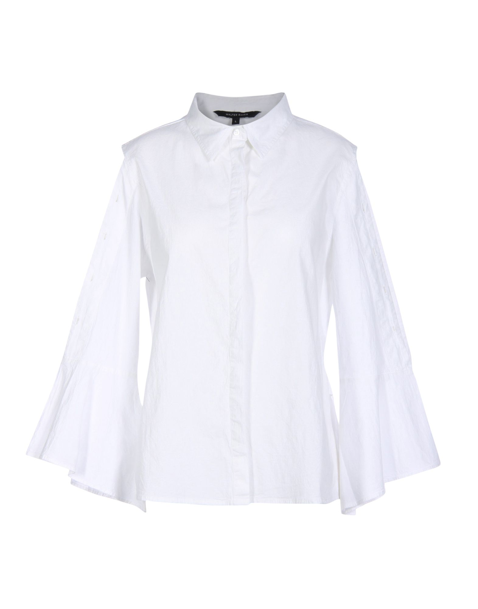 W118 BY WALTER BAKER Solid Color Shirts & Blouses in White