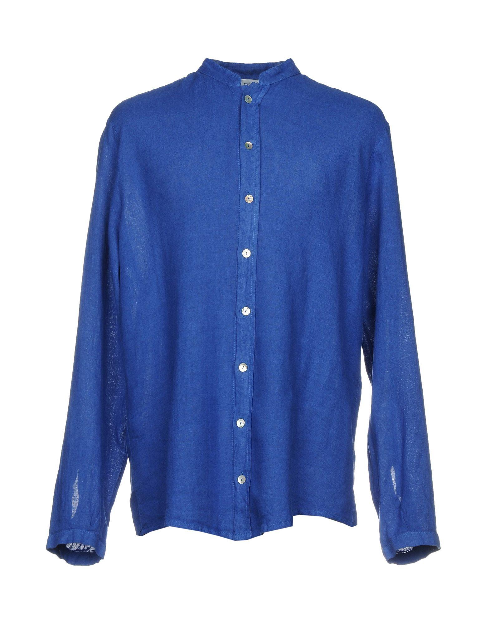 LA FABBRICA del LINO Herren Hemd Farbe Königsblau Größe 7