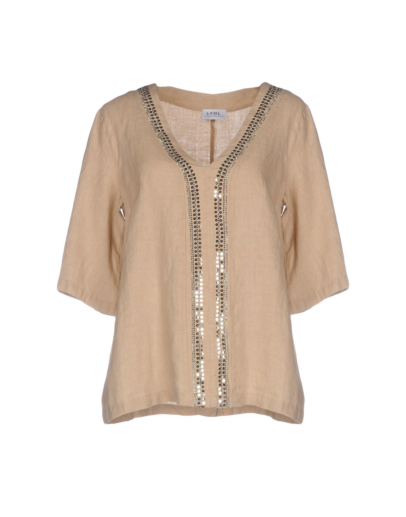 LA FABBRICA del LINO Damen Bluse Farbe Sand Größe 6