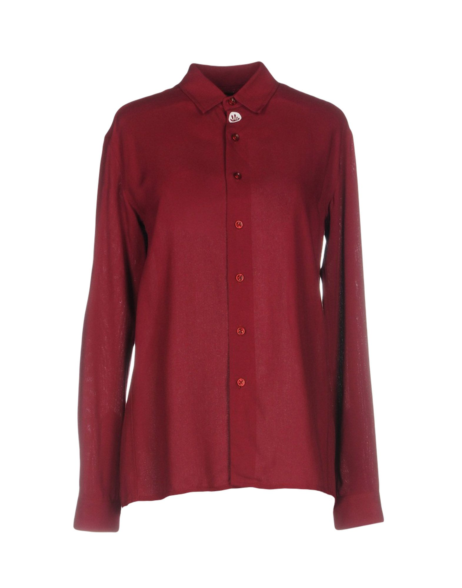 BRUTA Solid Color Shirts & Blouses in Maroon