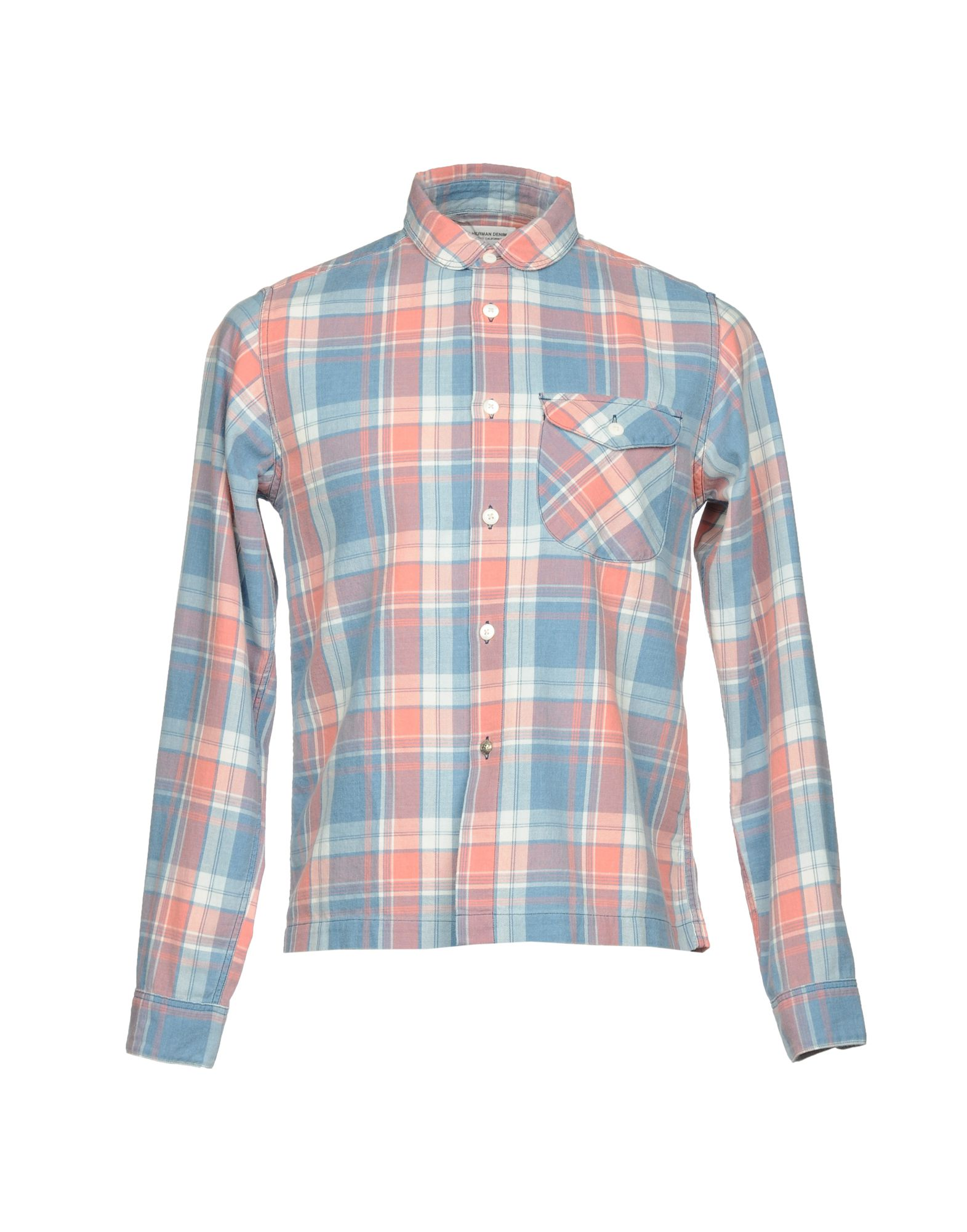 RON HERMAN Checked Shirt in Pastel Blue