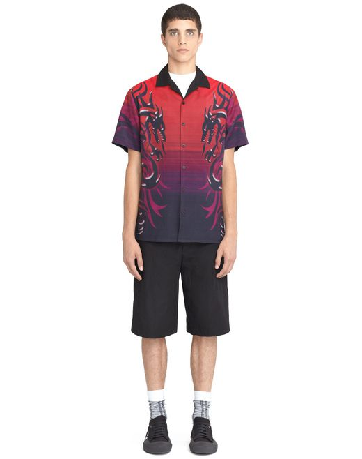 "lanvin ""dragon tribal"" bowling shirt men"