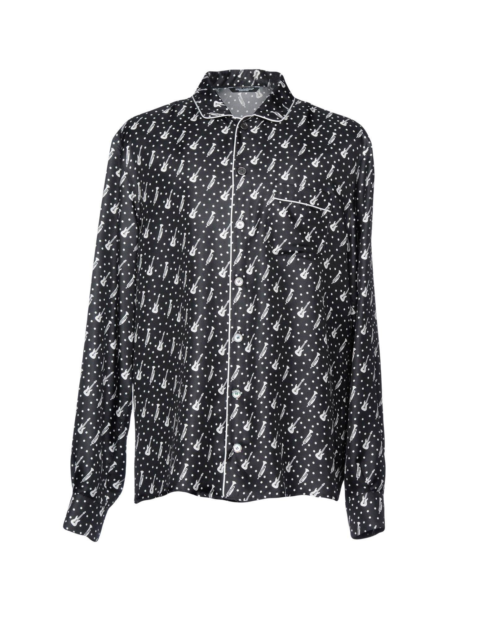 《セール開催中》DOLCE & GABBANA メンズ シャツ ブラック 43 シルク 100%