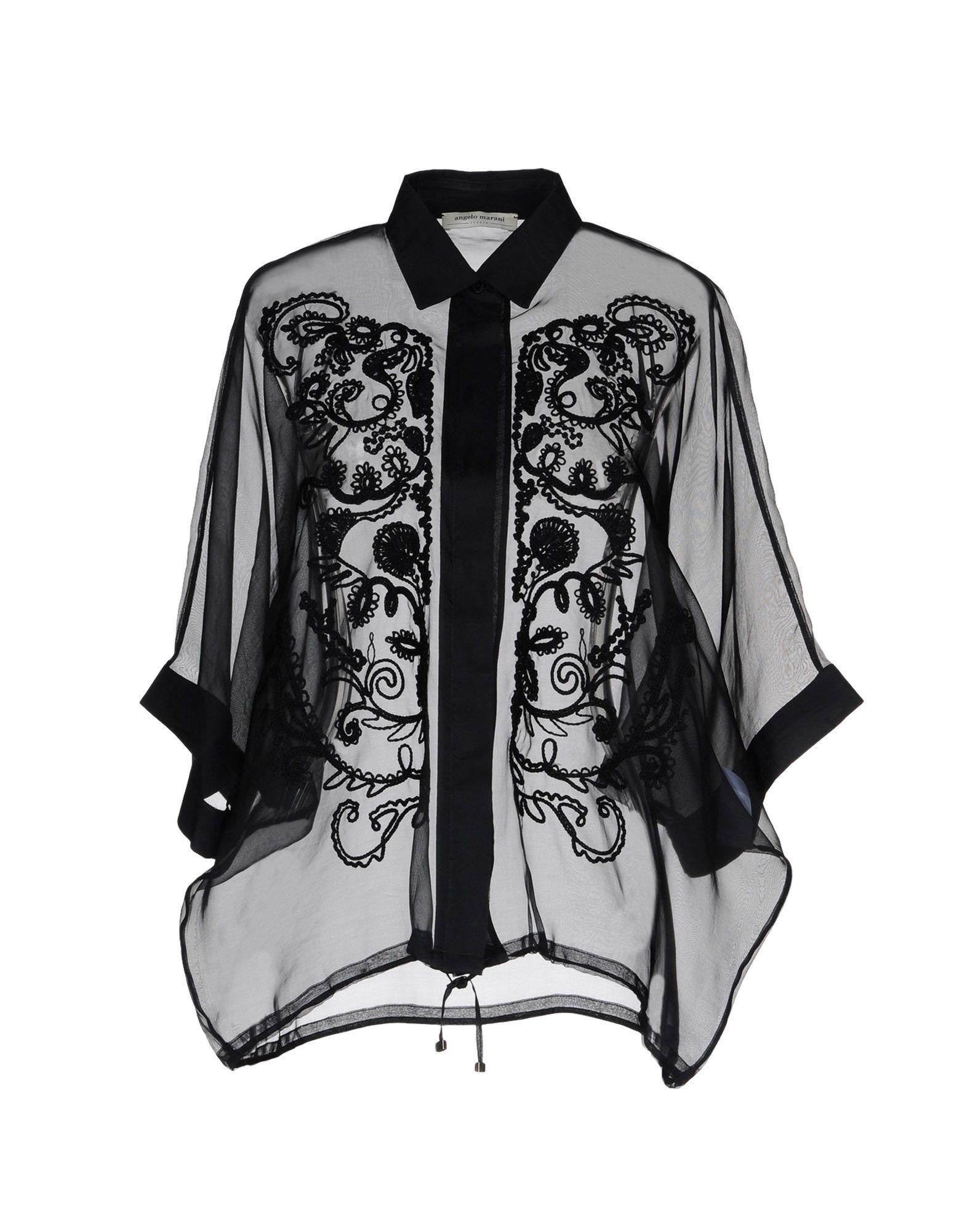 ANGELO MARANI レディース シャツ ブラック 40 ポリエステル 100%