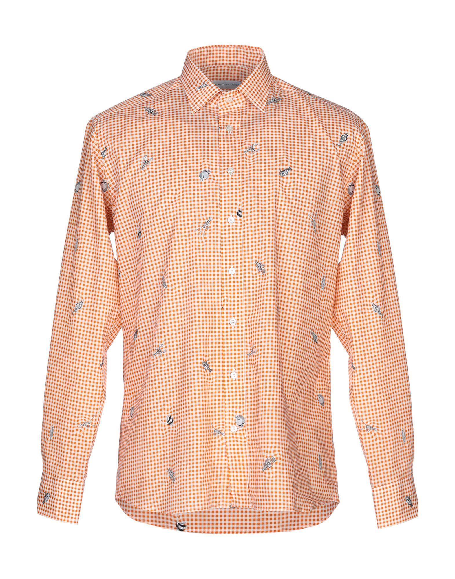 《送料無料》ETRO メンズ シャツ オレンジ 41 コットン 100%