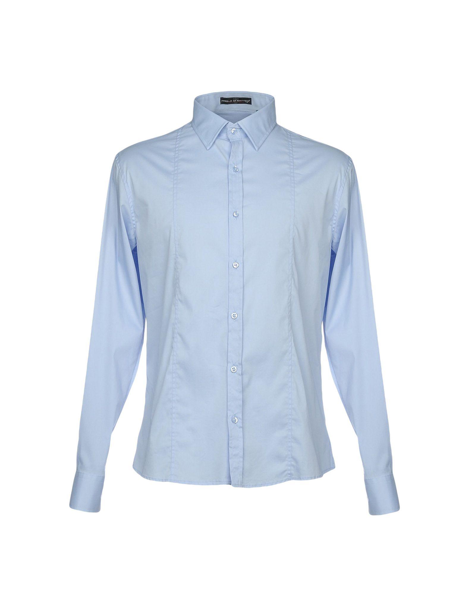 《セール開催中》PAOLO DI MATTEO メンズ シャツ スカイブルー XL 72% コットン 25% ナイロン 3% ポリウレタン