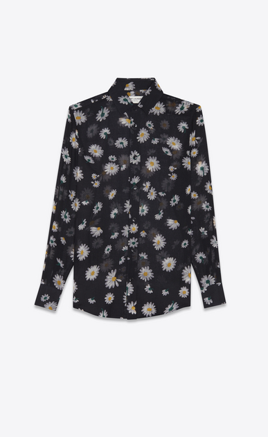 SAINT LAURENT Classic Shirts Woman PARIS collar shirt in black etamine printed with multicolored daisies a_V4