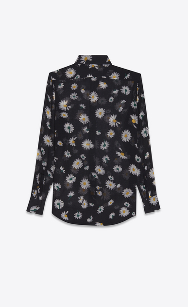 SAINT LAURENT Classic Shirts Woman PARIS collar shirt in black etamine printed with multicolored daisies b_V4