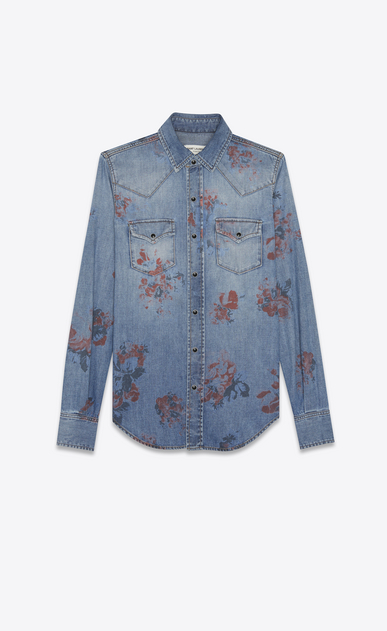 SAINT LAURENT Western Shirts Woman WESTERN shirt in faded blue denim with a floral print a_V4