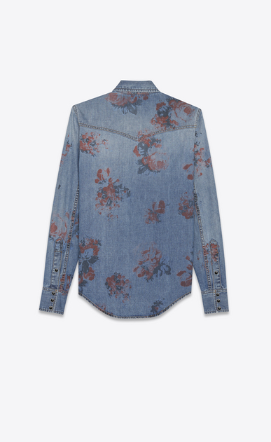 SAINT LAURENT Western Shirts Woman WESTERN shirt in faded blue denim with a floral print b_V4