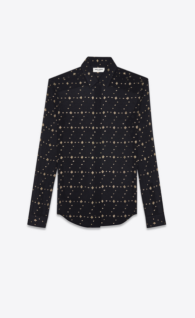 SAINT LAURENT Classic Shirts Woman Classic shirt in black silk with gold diamond shapes a_V4