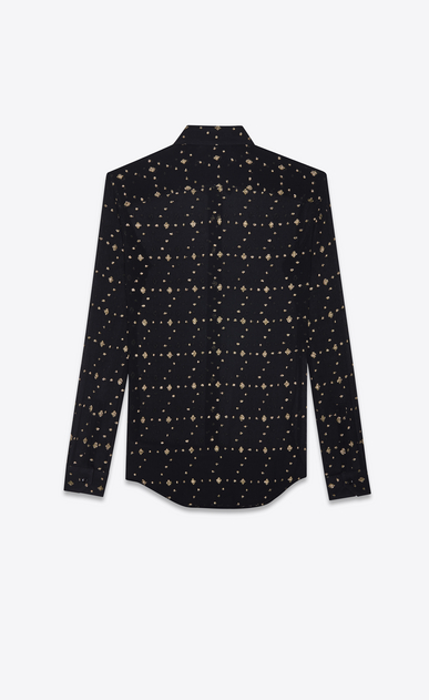 SAINT LAURENT Classic Shirts Woman shirt in black silk with gold diamond shapes b_V4