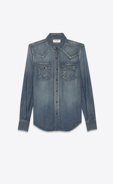 SAINT LAURENT Western Shirts Woman HEART Western shirt in faded blue denim a_V4
