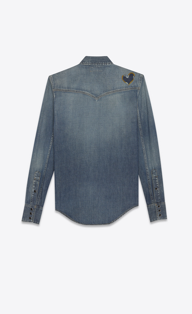 SAINT LAURENT Western Shirts Woman HEART Western shirt in faded blue denim b_V4