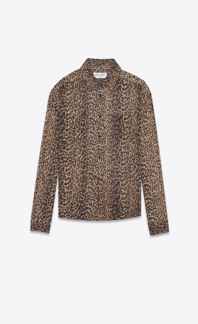 SAINT LAURENT Classic Shirts Woman shirt in brown and black leopard print etamine a_V4