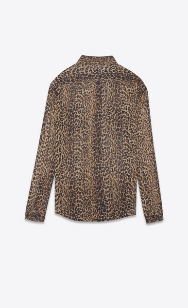 SAINT LAURENT Classic Shirts Woman shirt in brown and black leopard print etamine b_V4