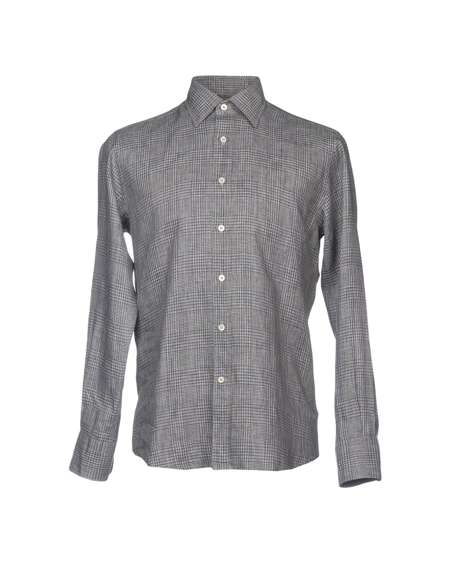 《送料無料》CANALI メンズ シャツ グレー M 麻 100%