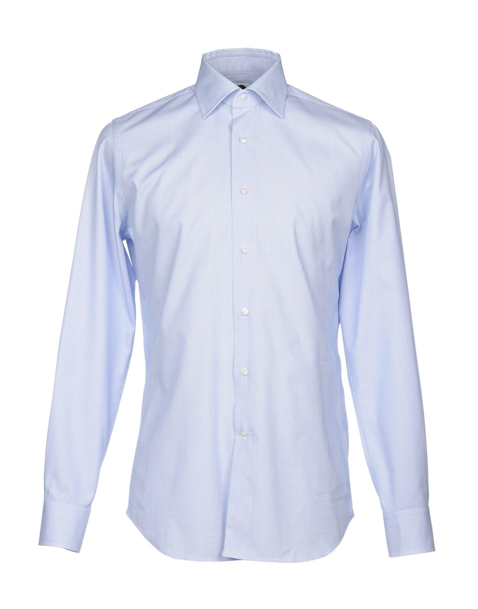 《送料無料》BAGUTTA メンズ シャツ ブルー 43 コットン 100%