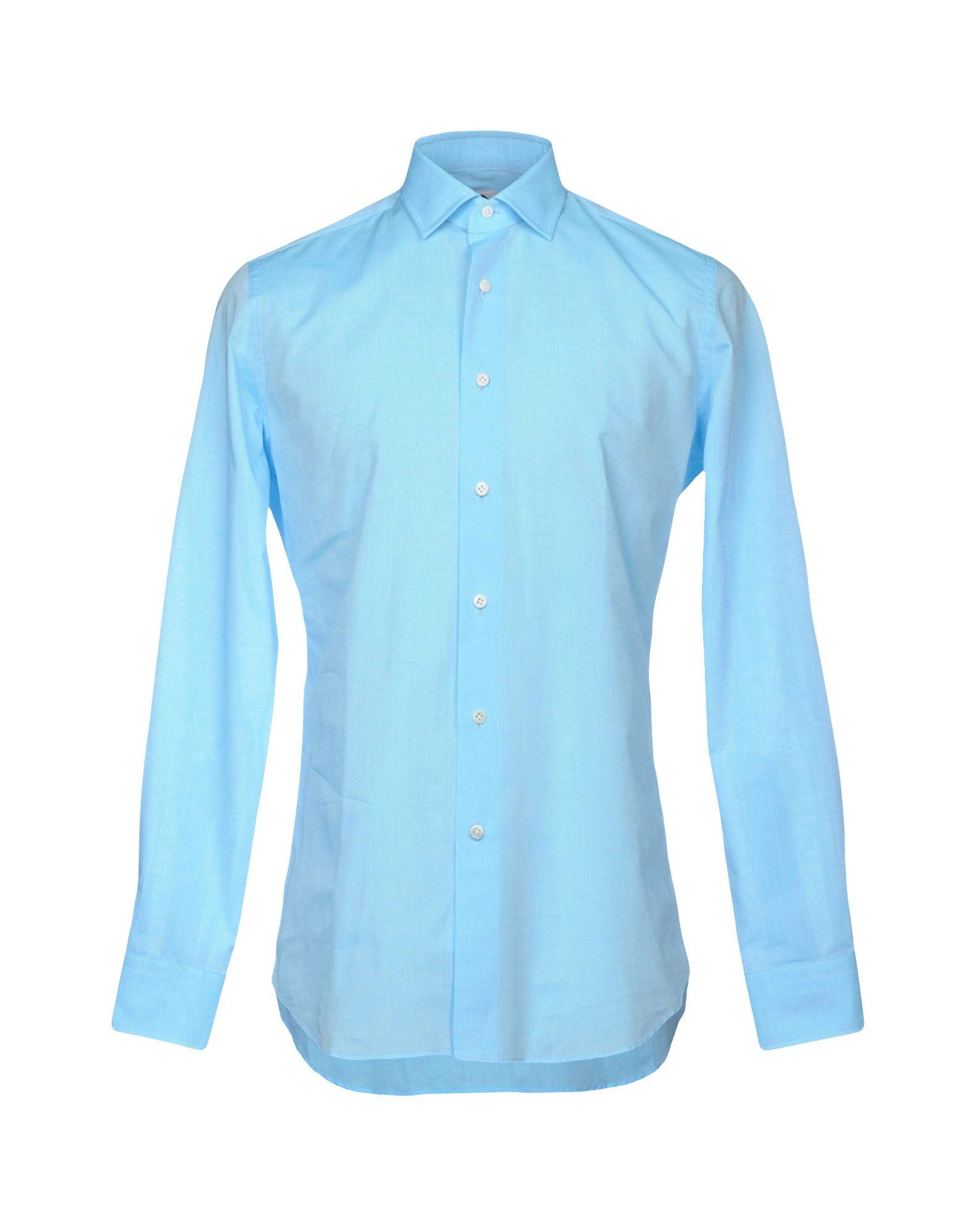 《送料無料》BAGUTTA メンズ シャツ ターコイズブルー 45 コットン 100%