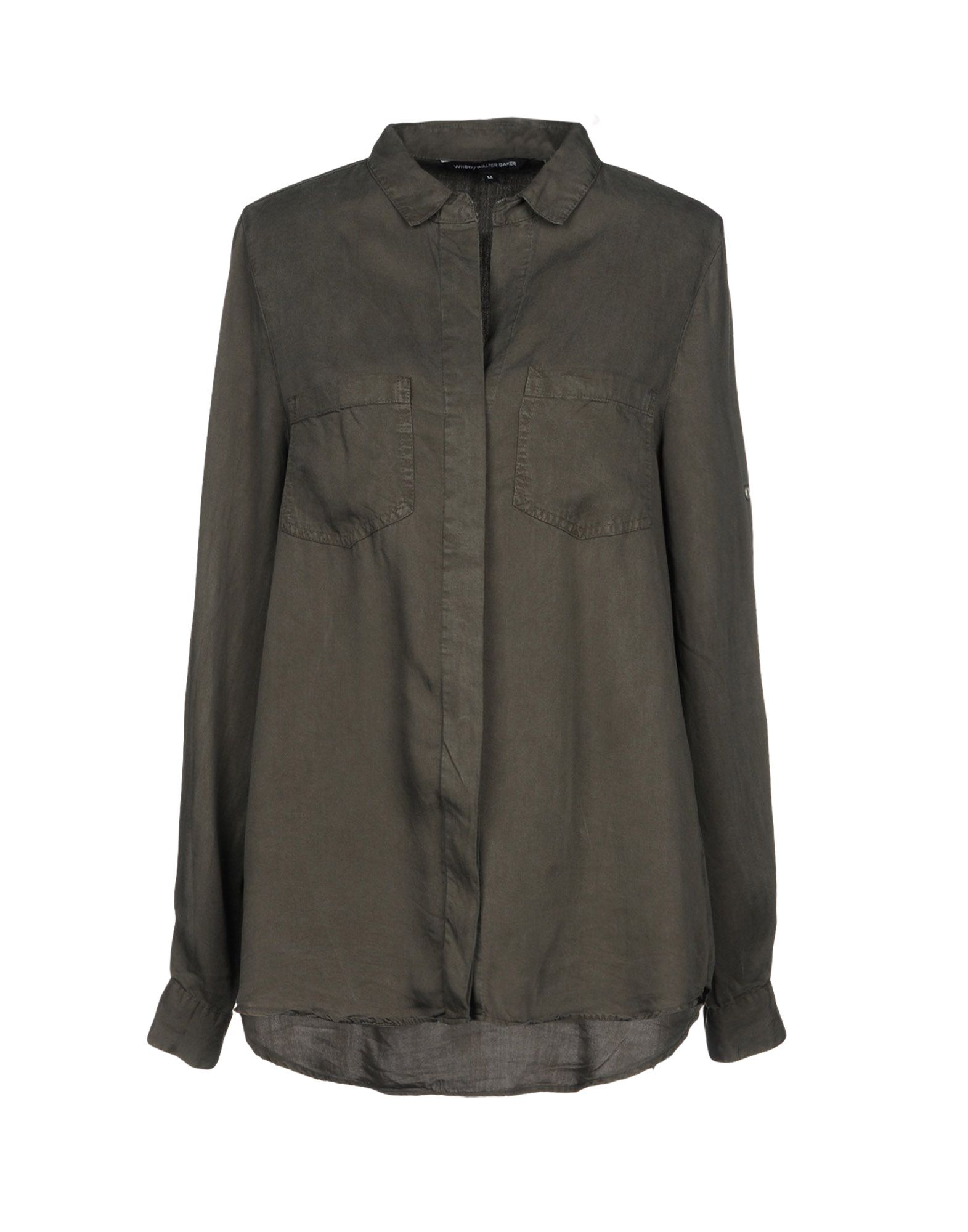 W118 BY WALTER BAKER Solid Color Shirts & Blouses in Dark Green