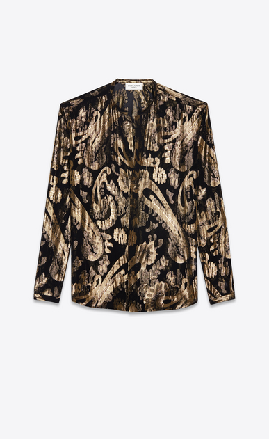 SAINT LAURENT Casual Shirts Man Tunisian collar shirt in black silk with gold lamé flowers a_V4
