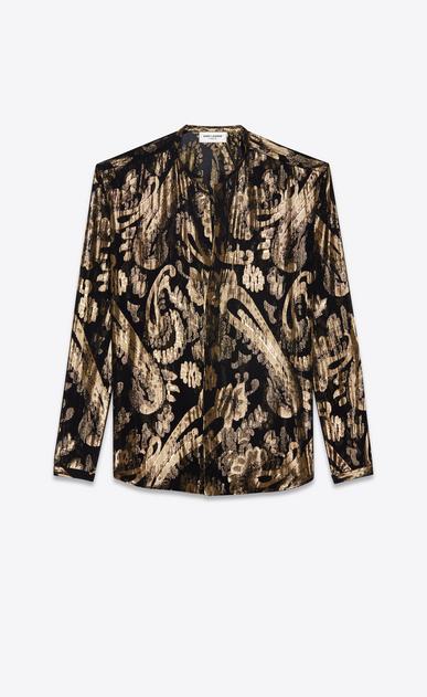 SAINT LAURENT Chemises Casual Homme Chemise à col tunisien en soie noire et fleurs lamées dorées a_V4