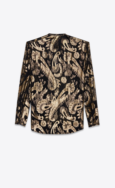 SAINT LAURENT Casual Shirts Man Tunisian collar shirt in black silk with gold lamé flowers b_V4
