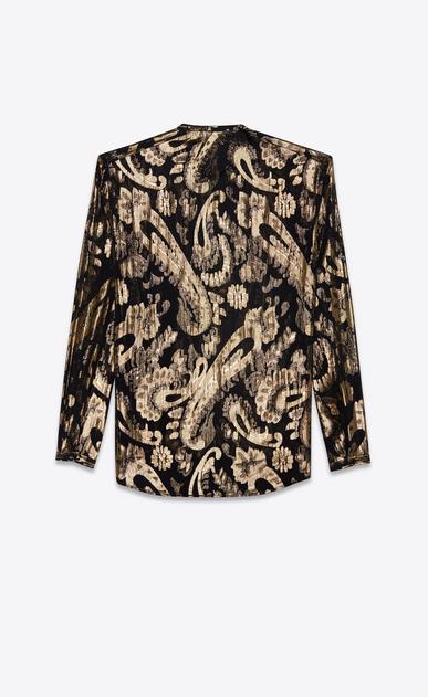 SAINT LAURENT Camicie Casual Uomo Camicia con collo alla tunisina nera in seta con fiori in lamé color oro b_V4