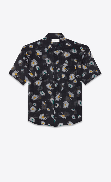 SAINT LAURENT Casual Shirts Man Yves-collar shirt in black etamine printed with daisies a_V4