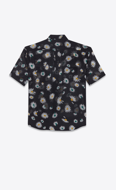SAINT LAURENT Casual Shirts Man Yves-collar shirt in black etamine printed with daisies b_V4
