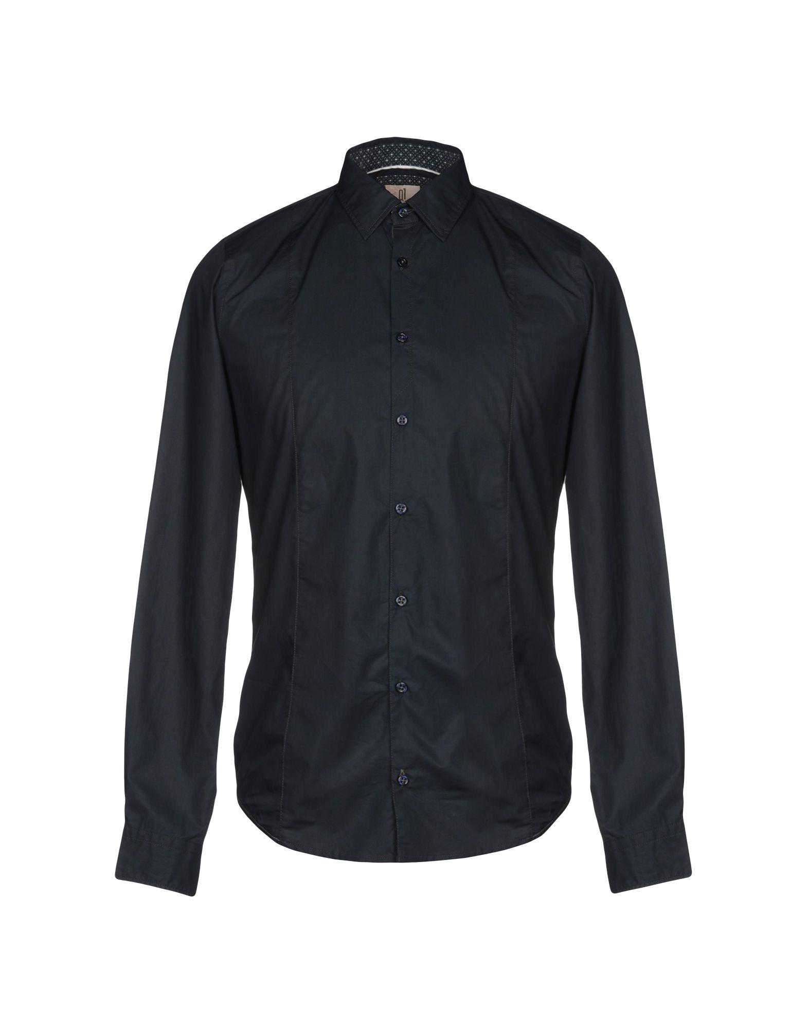 《送料無料》Q1 メンズ シャツ ダークブルー S コットン 100%