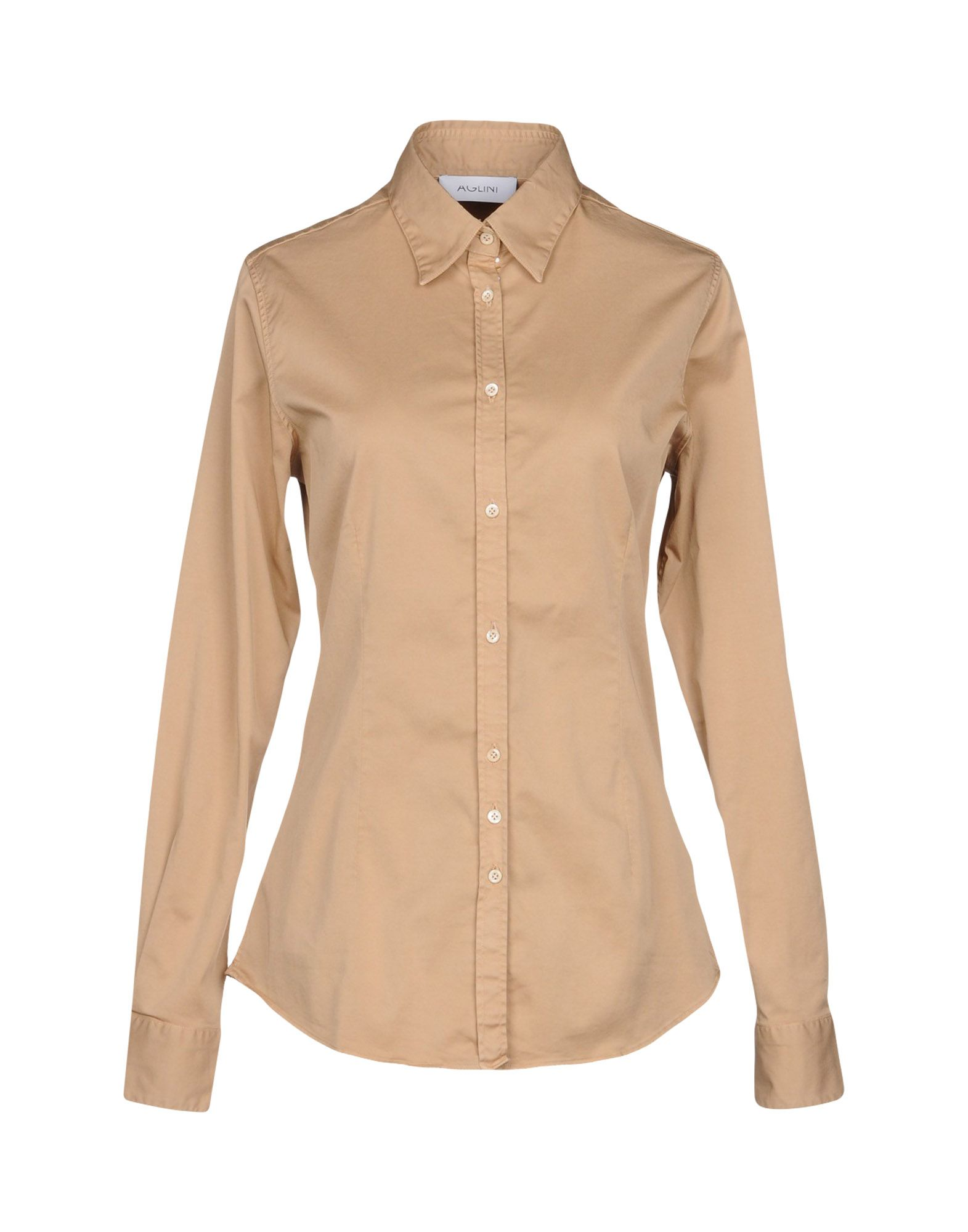 AGLINI Solid Color Shirts & Blouses in Sand