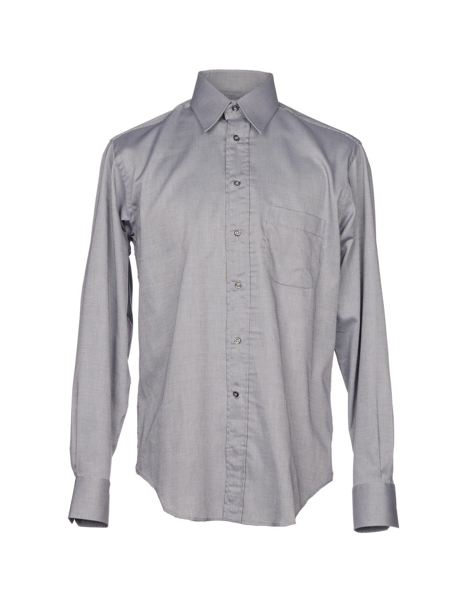 《送料無料》BAGUTTA メンズ シャツ グレー 40 コットン 100%