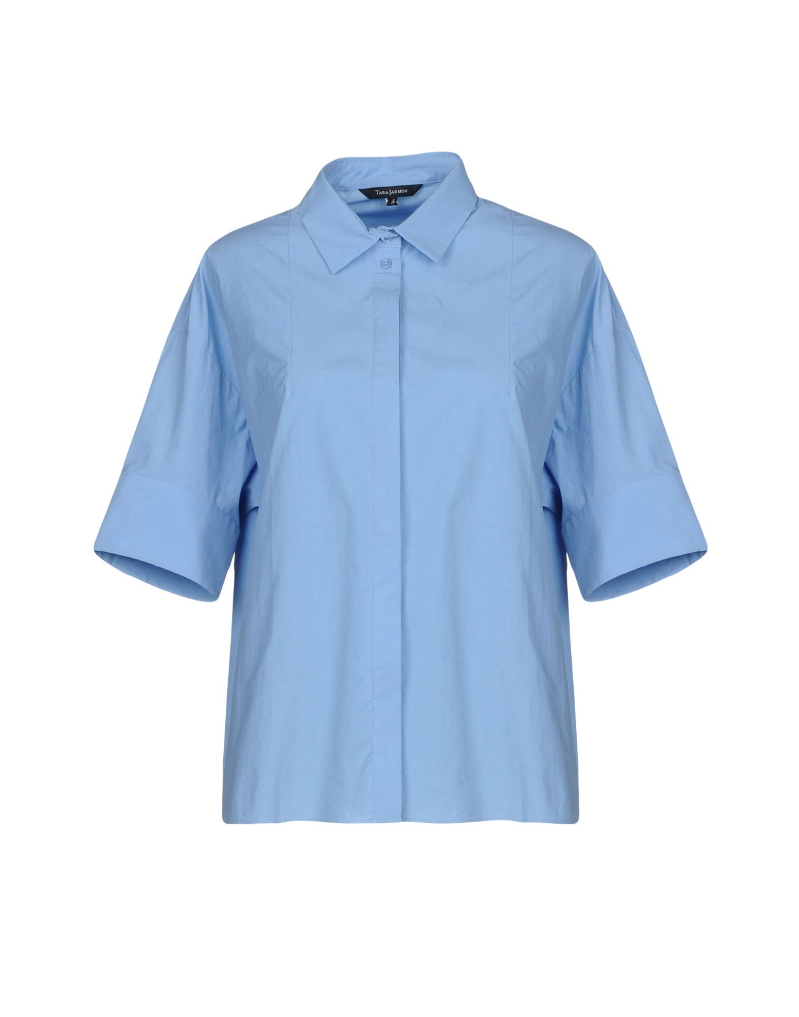 TARA JARMON Solid Color Shirts & Blouses in Sky Blue