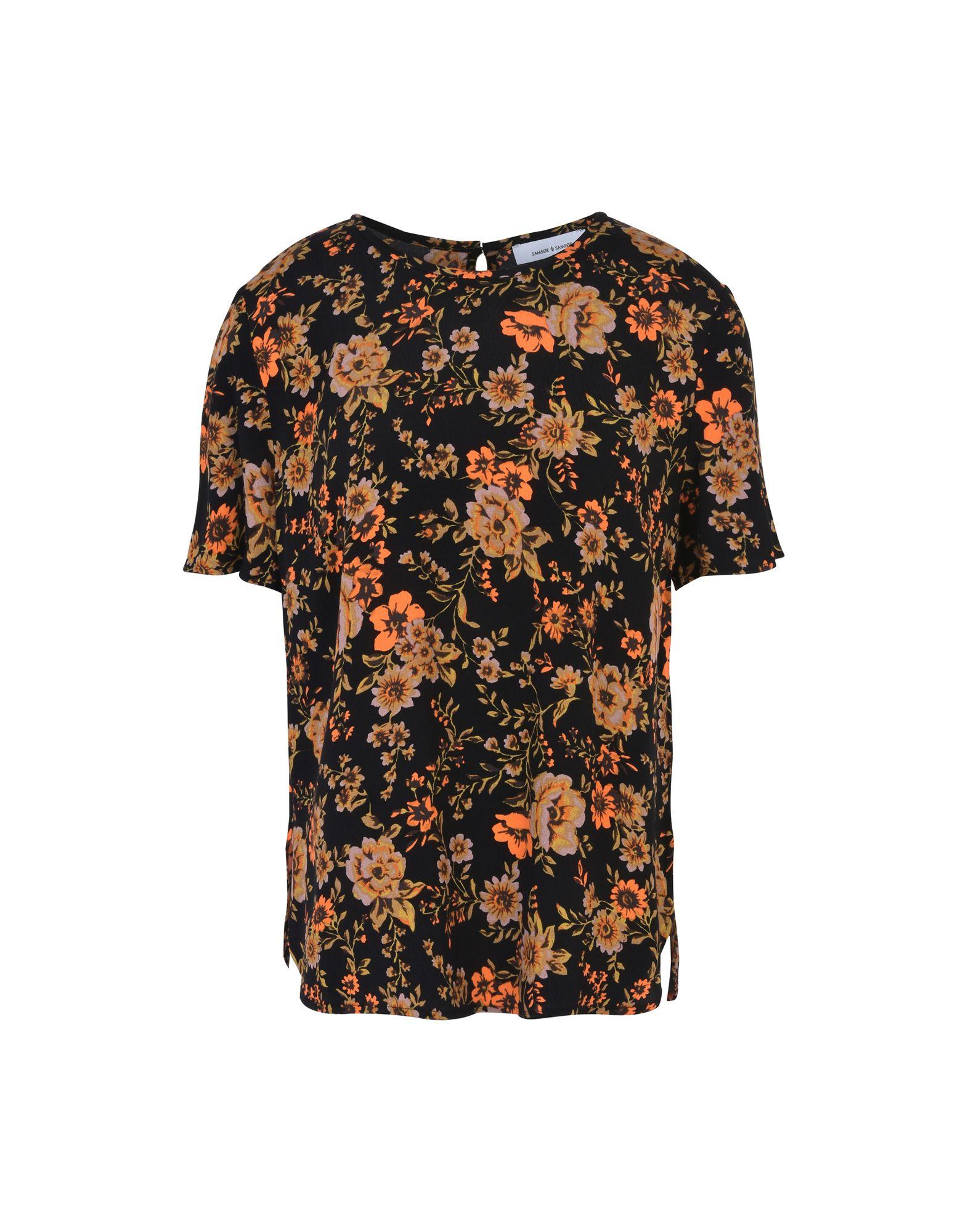 SAMSØE Φ SAMSØE Блузка блузка с рисунком короткие рукава вырез сзади